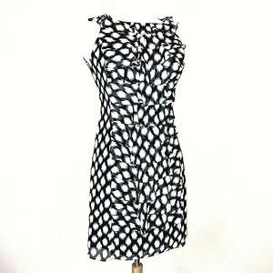 Adrianna Papell Ruffle Dress Black White Polka Dot